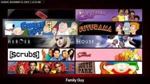 Schermata di esempio sulla visualizzazione delle serie TV del media center