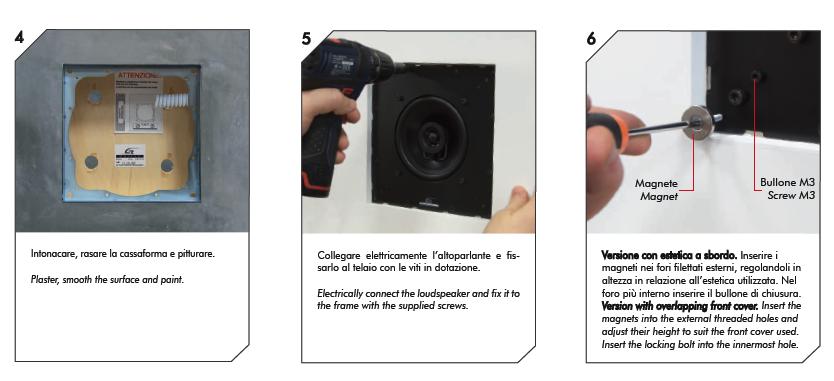 2 Casse acustiche parete installazione corpo diffusore