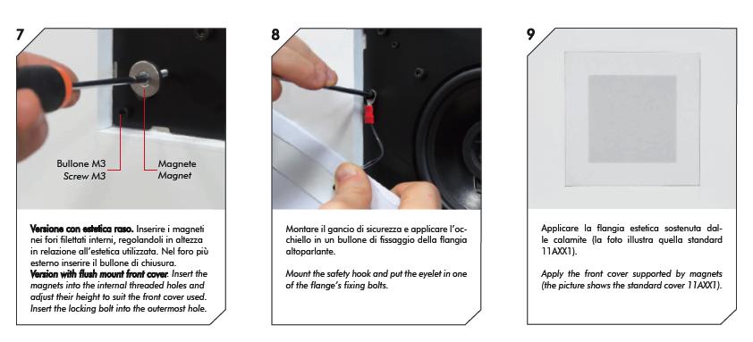 3 Casse acustiche parete installazione cover estetica