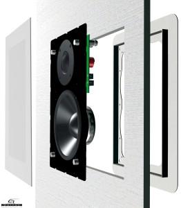 struttura diffusore audio da incasso a parete