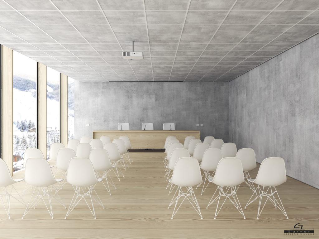 Progetto per Sala Riunioni con sistema integrato audio video e progetto pannelli fonoassorbenti per installatori