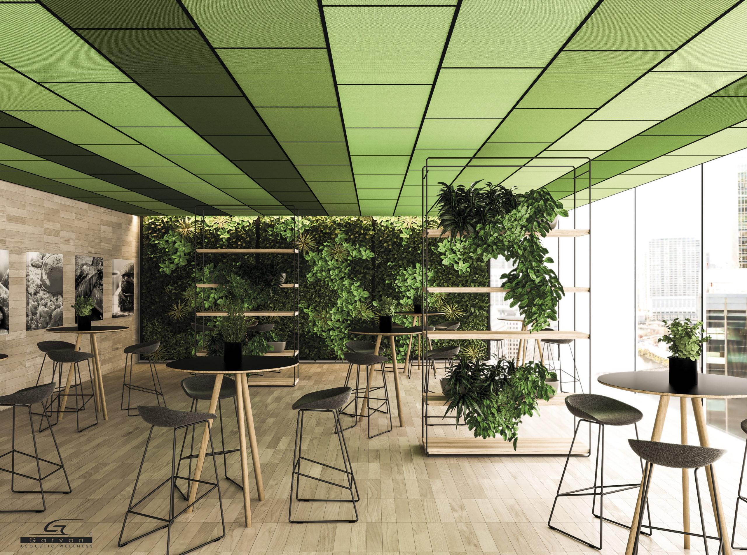soluzione a soffitto con pannelli fonoassorbenti  acoustic surface finitura in tessuto